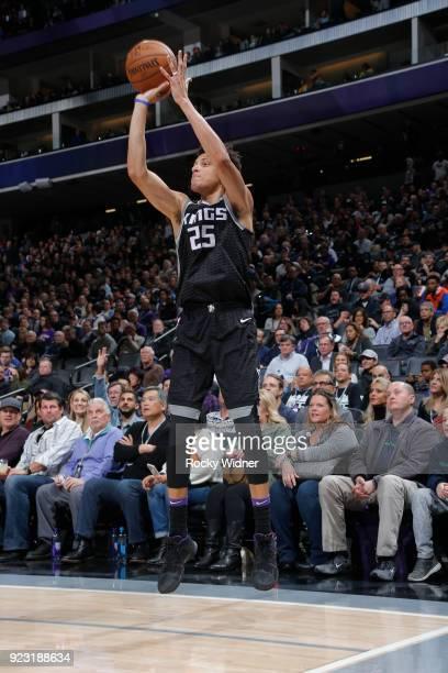 Justin Jackson of the Sacramento Kings shoots the ball against the Oklahoma City Thunder on February 22 2018 at Golden 1 Center in Sacramento...