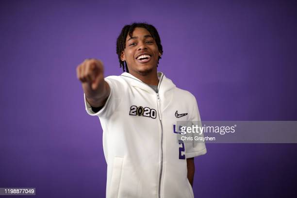 Justin Jefferson of the LSU Tigers attends media day for the College Football Playoff National Championship on January 11 2020 in New Orleans...