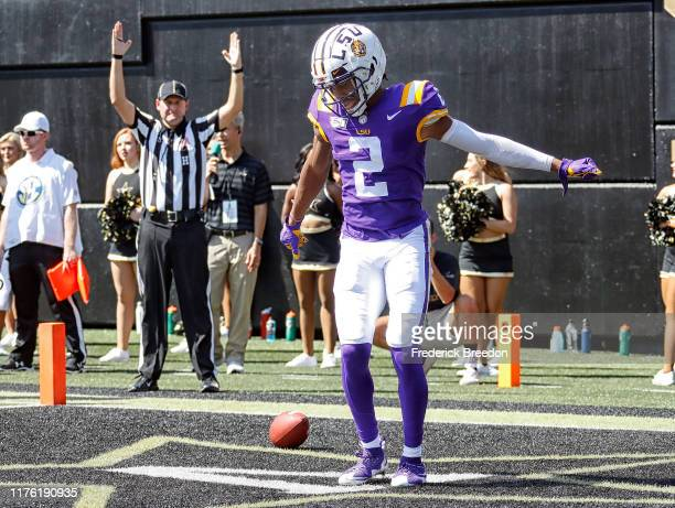 Justin Jefferson of the LSU Tigers celebrates after scoring a touchdown against the Vanderbilt Commodores during the first half at Vanderbilt Stadium...