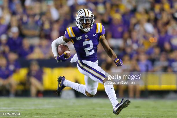 Justin Jefferson of the LSU Tigers runs with the ball during a game against the Northwestern State Demons at Tiger Stadium on September 14 2019 in...