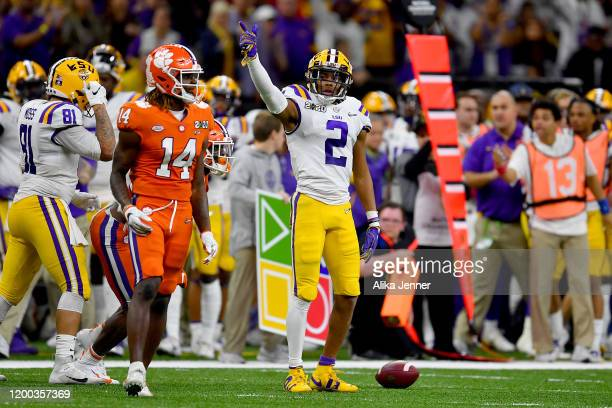 Justin Jefferson of the LSU Tigers signals for a first down after a 22yard catch and run during the second quarter of the College Football Playoff...