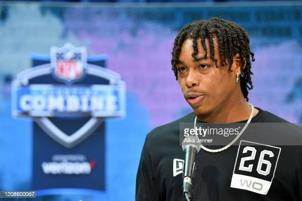 Justin Jefferson #WO26 of LSU interviews during the first day of the NFL Scouting Combine at Lucas Oil Stadium on February 25 2020 in Indianapolis...