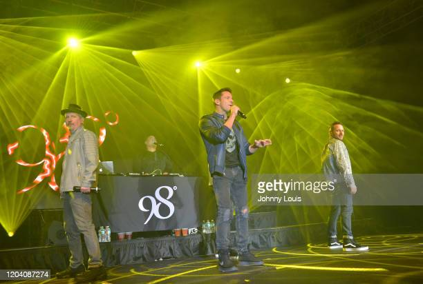 Justin Jeffre, Jeff Timmons and Drew Lachey and of 98 Degrees perform on stage at Seminole Casino Coconut Creek on February 28, 2020 in Coconut...