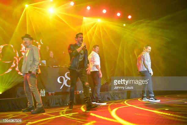 Justin Jeffre, Jeff Timmons, Nick Lachey and Drew Lachey of 98 Degrees perform on stage at Seminole Casino Coconut Creek on February 28, 2020 in...