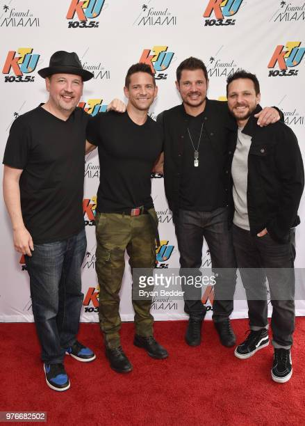 Justin Jeffre Jeff Timmons Nick Lachey and Drew Lachey of 98 Degrees attend 1035 KTU's KTUphoria on June 16 2018 in Wantagh City