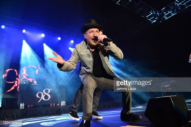 Justin Jeffre of 98 Degrees performs on stage at Seminole Casino Coconut Creek on February 28, 2020 in Coconut Creek, Florida.