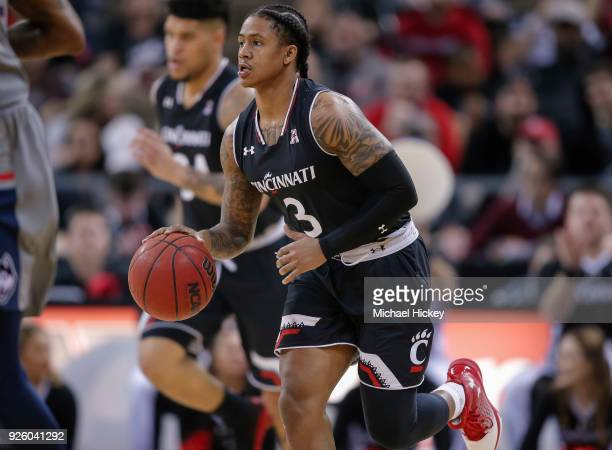 Justin Jenifer of the Cincinnati Bearcats brings the ball up court during the game against the Connecticut Huskies at BBT Arena on February 22 2018...