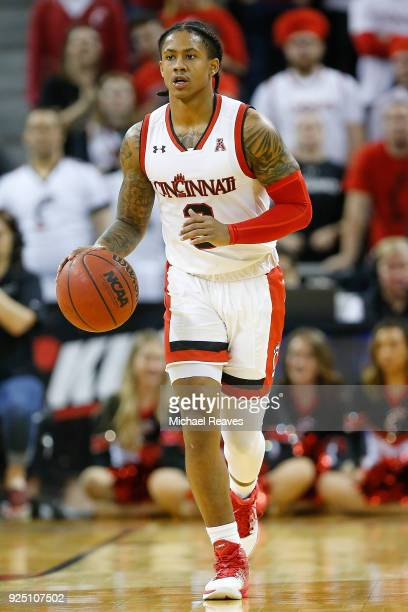 Justin Jenifer of the Cincinnati Bearcats dribbles with the ball against the Tulsa Golden Hurricane at BBT Arena on February 25 2018 in Highland...
