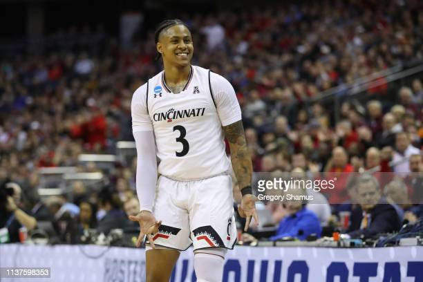 Justin Jenifer of the Cincinnati Bearcats reacts during the first half against the Iowa Hawkeyes in the first round of the 2019 NCAA Men's Basketball...
