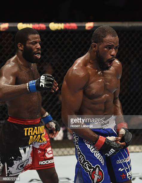 Justin Jones and Corey Anderson after their their light heavyweight bout during the UFC 181 event inside the Mandalay Bay Events Center on December...