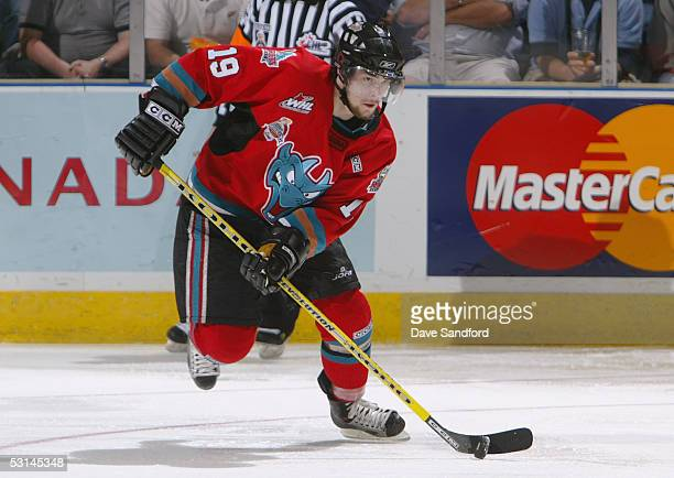Justin Keller of the Kelowna Rockets breaks out of the defensive zone against the Rimouski Oceanic during the Memorial Cup Tournament at the John...