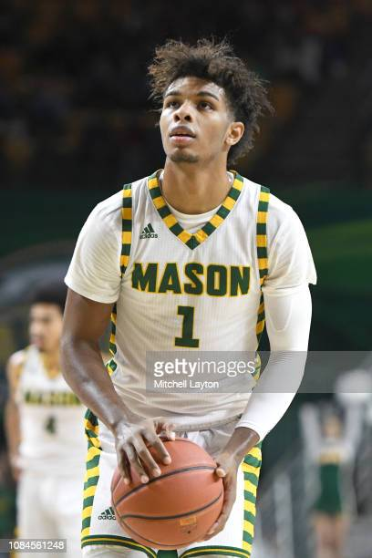 Justin Kier of the George Mason Patriots takes a foul shot during a college basketball game against the Southern University Jaguars at the Eagle Bank...
