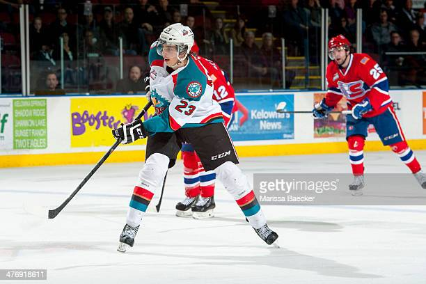 Justin Kirkland of the Kelowna Rockets takes a shot on net against the Spokane Chiefs during the third period on March 5, 2014 at Prospera Place in...