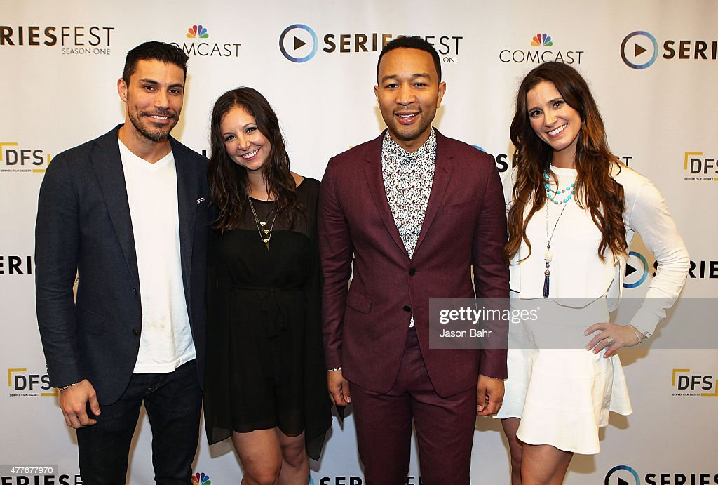 Justin Klosky, Randi Kleiner, John Legend, and Kaily Smith arrive during the opening night of SeriesFest at Red Rocks Amphitheatre on June 18, 2015 in Morrison, Colorado.