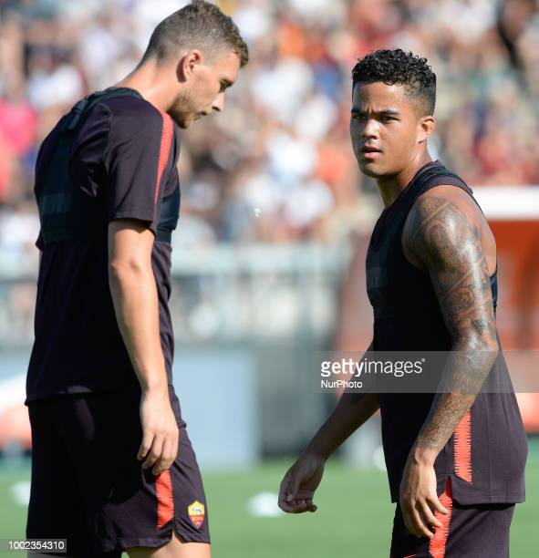 Justin Kluivert and Edin Dzeko during training session open to the fans of AS Roma preseason retreat at Stadio Tre Fontane on july 19 2018 in Rome...