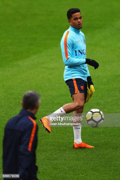 Justin Kluivert in action during the Netherlands Training session held at Amsterdam Arena also known as the Johan Cruyff Arena on March 22 2018 in...