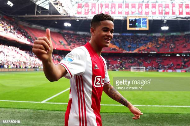 Justin Kluivert of AFC Ajax celebrates at fulltime following the Eredivisie match between AFC Ajax and Feyenoord at Amsterdam Arena on April 2 2017...