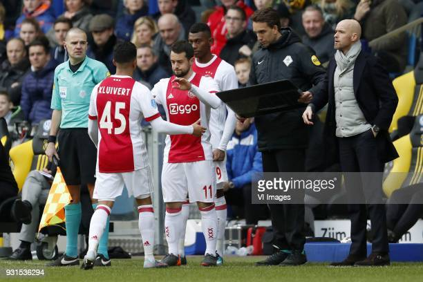 Justin Kluivert of Ajax Amin Younes of Ajax Mateo Cassierra of Ajax coach Erik ten Hag of Ajax during the Dutch Eredivisie match between Vitesse...