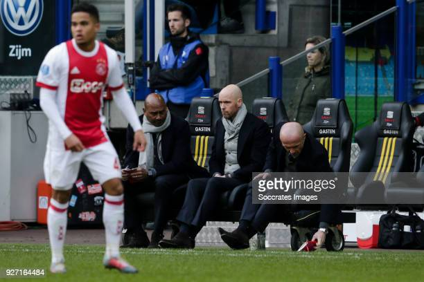 Justin Kluivert of Ajax assistant trainer Aron Winter of Ajax coach Erik ten Hag of Ajax assistant trainer Alfred Schreuder of Ajax during the Dutch...