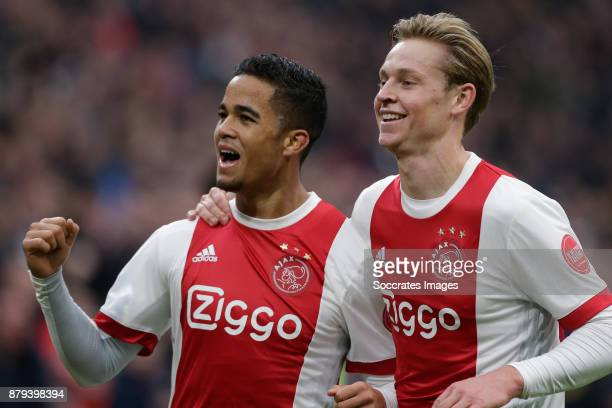 Justin Kluivert of Ajax celebrate 31 with Frenkie de Jong of Ajax during the Dutch Eredivisie match between Ajax v Roda JC at the Johan Cruijff Arena...