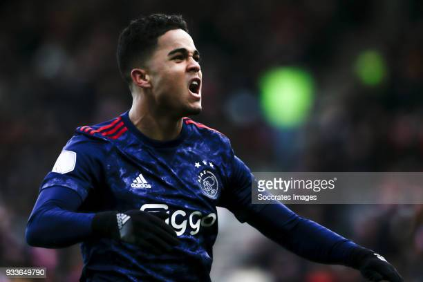 Justin Kluivert of Ajax celebrate his goal the 31 during the Dutch Eredivisie match between Sparta v Ajax at the Sparta Stadium Het Kasteel on March...