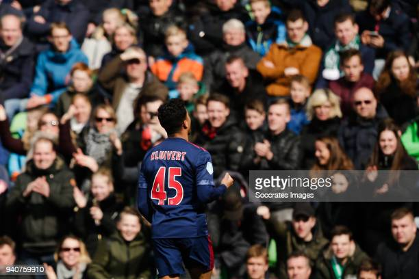 Justin Kluivert of Ajax celebrate is goal the 11 during the Dutch Eredivisie match between FC Groningen v Ajax at the NoordLease Stadium on April 1...