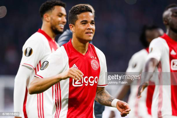 Justin Kluivert of Ajax celebrate the victory at the end of the game during the Uefa Europa League semi final first leg match between Ajax Amsterdam...