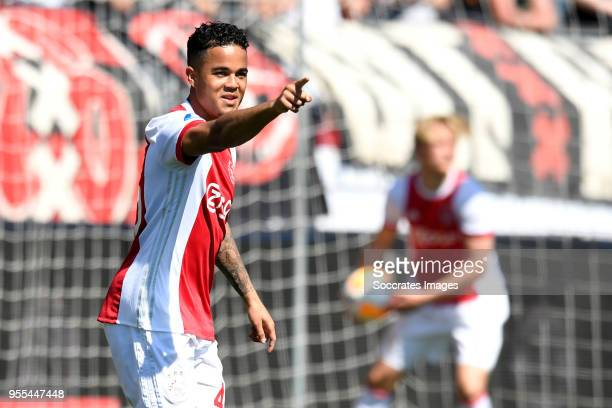 Justin Kluivert of Ajax celebrates 11 during the Dutch Eredivisie match between Excelsior v Ajax at the Van Donge De Roo Stadium on May 6 2018 in...
