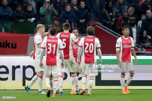 Justin Kluivert of Ajax celebrates 20 with Donny van de Beek of Ajax Nicolas Tagliafico of Ajax Maximilian Wober of Ajax Lasse Schone of Ajax David...