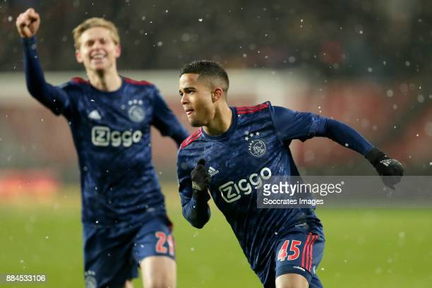 Justin Kluivert of Ajax celebrates 23 during the Dutch Eredivisie match between Fc Twente v Ajax at the De Grolsch Veste on December 2 2017 in...