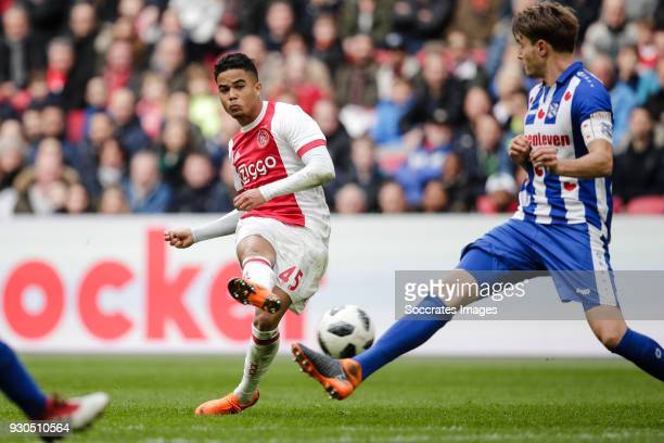 Justin Kluivert of Ajax Daniel Hoegh of SC Heerenveen during the Dutch Eredivisie match between Ajax v SC Heerenveen at the Johan Cruijff Arena on...