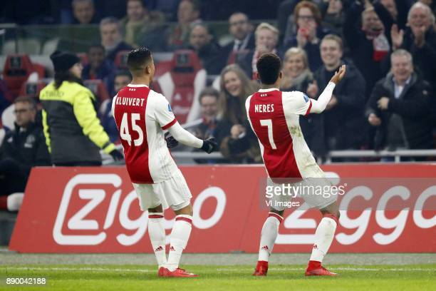 Justin Kluivert of Ajax David Neres of Ajax during the Dutch Eredivisie match between Ajax Amsterdam and PSV Eindhoven at the Amsterdam Arena on...