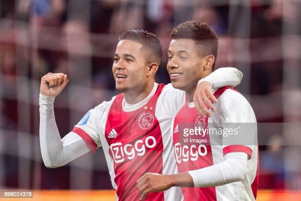 Justin Kluivert of Ajax David Neres of Ajax during the Dutch Eredivisie match between Ajax Amsterdam and Willem II Tilburg at the Amsterdam Arena on...