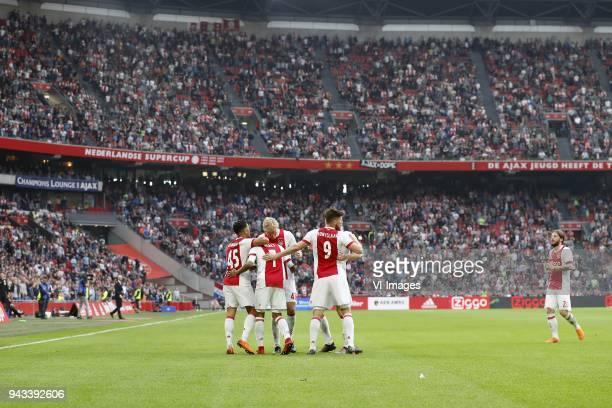 Justin Kluivert of Ajax David Neres of Ajax Rasmus Kristensen of Ajax Klaas Jan Huntelaar of Ajax Lasse Schone of Ajax during the Dutch Eredivisie...