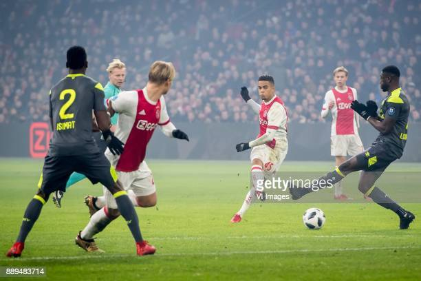 Justin Kluivert of Ajax during the Dutch Eredivisie match between Ajax Amsterdam and PSV Eindhoven at the Amsterdam Arena on December 10 2017 in...