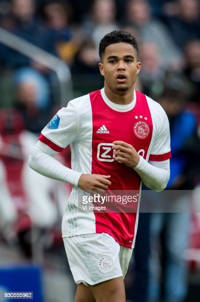 Justin Kluivert of Ajax during the Dutch Eredivisie match between Ajax Amsterdam and sc Heerenveen at the Amsterdam Arena on March 11 2018 in...