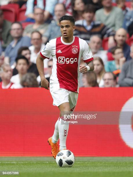 Justin Kluivert of Ajax during the Dutch Eredivisie match between Ajax Amsterdam and Heracles Almelo at the Amsterdam Arena on April 08 2018 in...