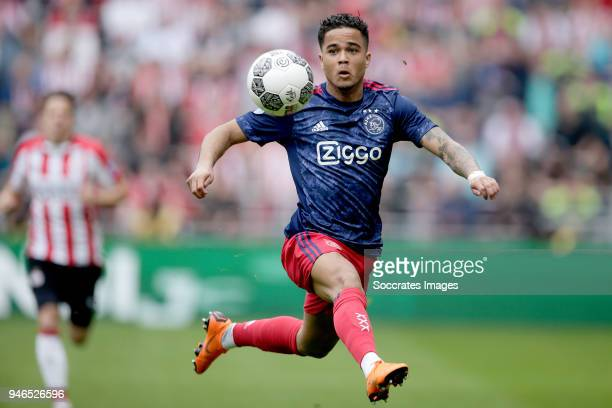 Justin Kluivert of Ajax during the Dutch Eredivisie match between PSV v Ajax at the Philips Stadium on April 15 2018 in Eindhoven Netherlands