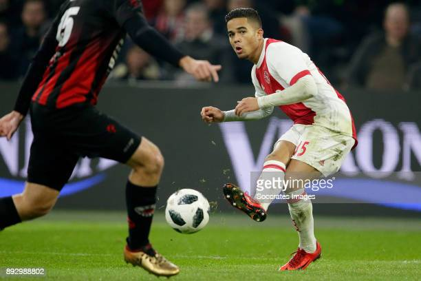 Justin Kluivert of Ajax during the Dutch Eredivisie match between Ajax v Excelsior at the Johan Cruijff Arena on December 14 2017 in Amsterdam...