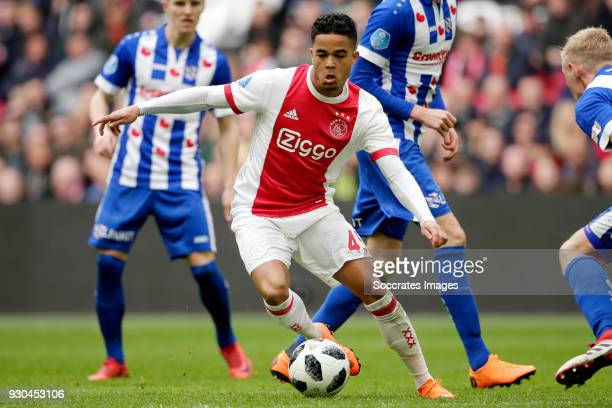 Justin Kluivert of Ajax during the Dutch Eredivisie match between Ajax v SC Heerenveen at the Johan Cruijff Arena on March 11 2018 in Amsterdam...