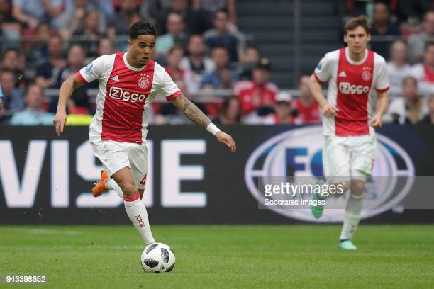 Justin Kluivert of Ajax during the Dutch Eredivisie match between Ajax v Heracles Almelo at the Johan Cruijff Arena on April 8 2018 in Amsterdam...