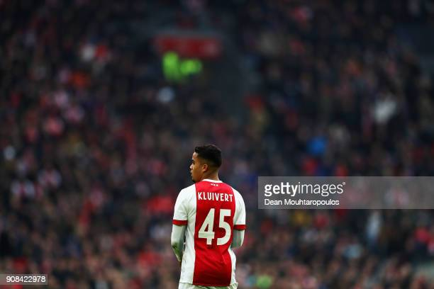 Justin Kluivert of Ajax in action during the Dutch Eredivisie match between Ajax Amsterdam and Feyenoord at Amsterdam ArenA on January 21, 2018 in...