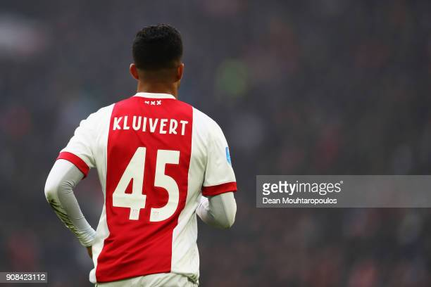 Justin Kluivert of Ajax in action during the Dutch Eredivisie match between Ajax Amsterdam and Feyenoord at Amsterdam ArenA on January 21 2018 in...