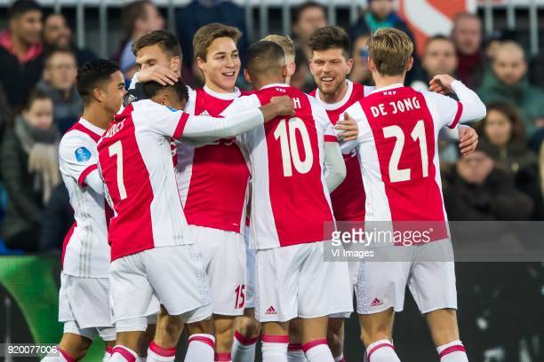 Justin Kluivert of Ajax Joel Veltman of Ajax David Neres of Ajax Carel Eiting of Ajax Hakim Ziyech of Ajax Klaas Jan Huntelaar of Ajax Frenkie de...