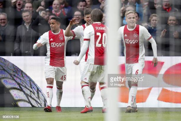 Justin Kluivert of Ajax Klaas Jan Huntelaar of Ajax Lasse Schone of Ajax Donny van de Beek of Ajax during the Dutch Eredivisie match between Ajax...
