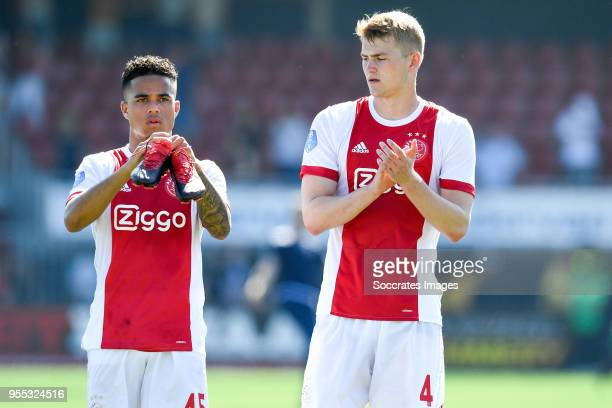 Justin Kluivert of Ajax Matthijs de Ligt of Ajax celebrate the victory during the Dutch Eredivisie match between Excelsior v Ajax at the Van Donge De...