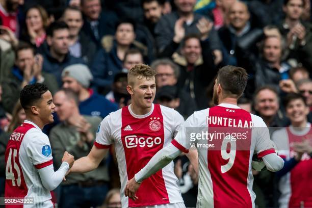 Justin Kluivert of Ajax Matthijs de Ligt of Ajax Klaas Jan Huntelaar of Ajax during the Dutch Eredivisie match between Ajax Amsterdam and sc...
