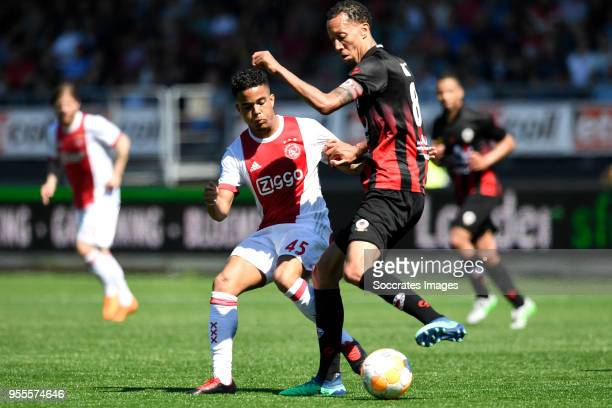 Justin Kluivert of Ajax Ryan Koolwijk of Excelsior during the Dutch Eredivisie match between Excelsior v Ajax at the Van Donge De Roo Stadium on May...