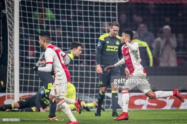 10 Justin Kluivert of Ajax Santiago Arias of PSV Luuk de Jong of PSV David Neres of Ajax during the Dutch Eredivisie match between Ajax Amsterdam and...