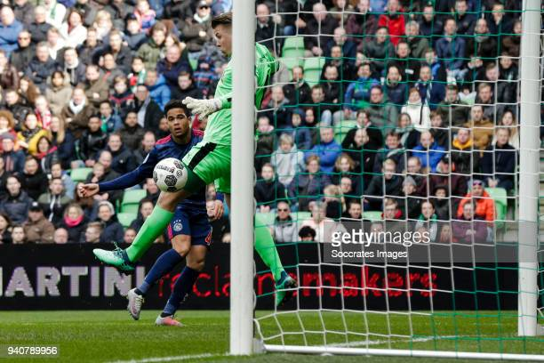 Justin Kluivert of Ajax scores the second goal to make it 11 during the Dutch Eredivisie match between FC Groningen v Ajax at the NoordLease Stadium...
